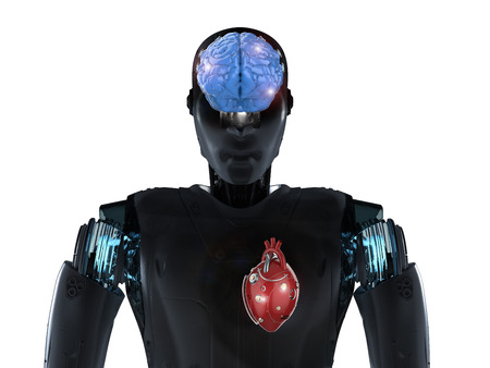 Robot invention concept with 3d rendering artificial intelligence robot with robotic heart and brain
