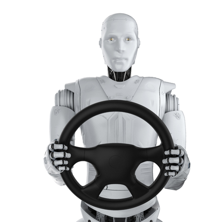 Autonomous car concept with 3d rendering robot hold steering wheel isolated on white