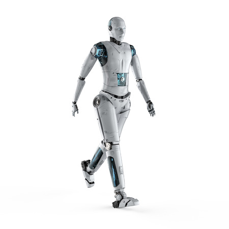 3d rendering humanoid robot full body walking on white background