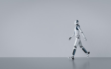 3d rendering humanoid robot full body walking with blank space Banque d'images - 123038094