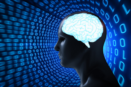 3d rendering human model with blue shiny brain