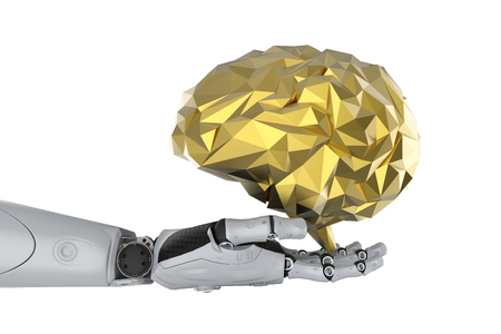 Ai with brain concept with 3d rendering robot with golden polygonal brain
