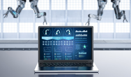3d rendering notebook computer display ai system in factory