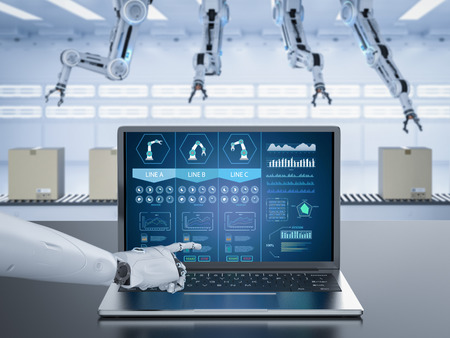 3d rendering robot working with notebook computer in factory