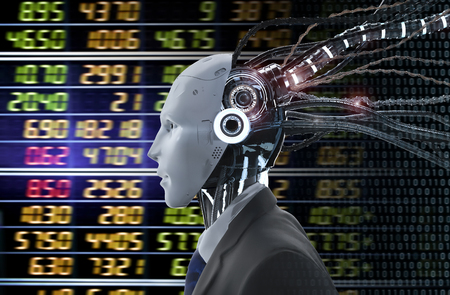 Financial technology concept with 3d rendering humanoid robot analyze stock market Banco de Imagens