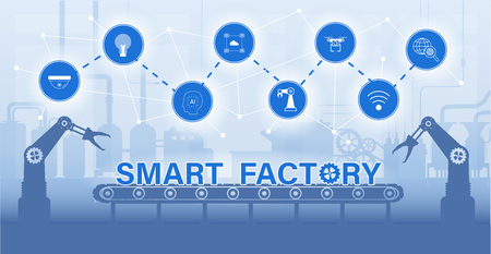 Smart factory concept with machine and icons flat design vector illustration