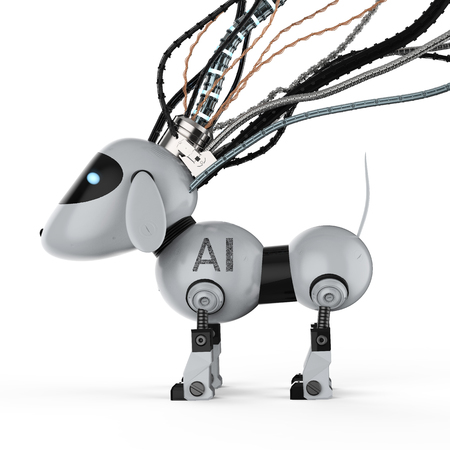 3d rendering dog robot with wires on white