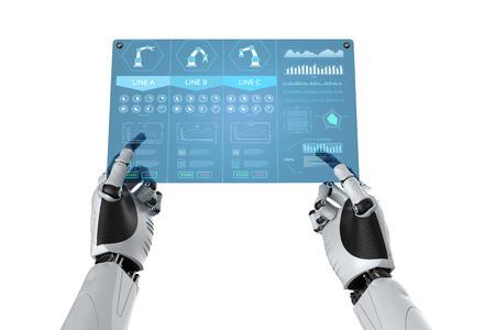 3d rendering robotic hand working with digital tablet