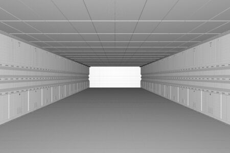 3d rendering wireframe interior empty factory or storehouse