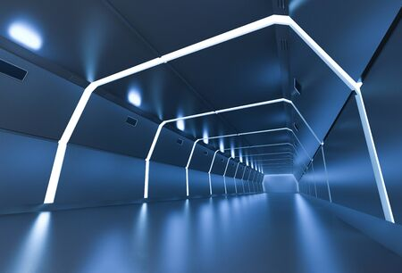 3d rendering interior blue futuristic factory or tunnel 스톡 콘텐츠