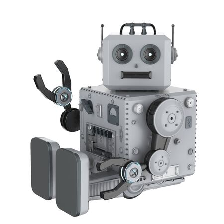 3d rendering robot tin toy hand up on white background Foto de archivo - 124821831