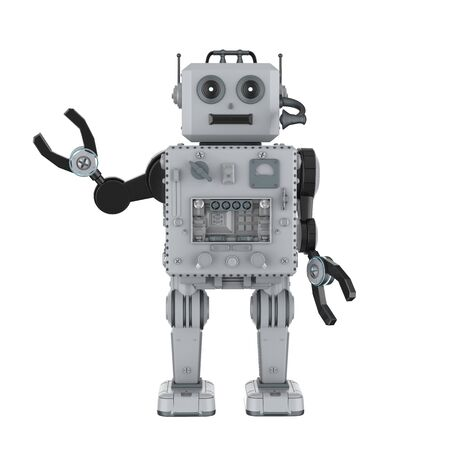 3d rendering robot tin toy hand up on white background Foto de archivo - 124821834