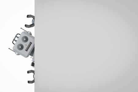 3d rendering robot tin toy with white blank paper