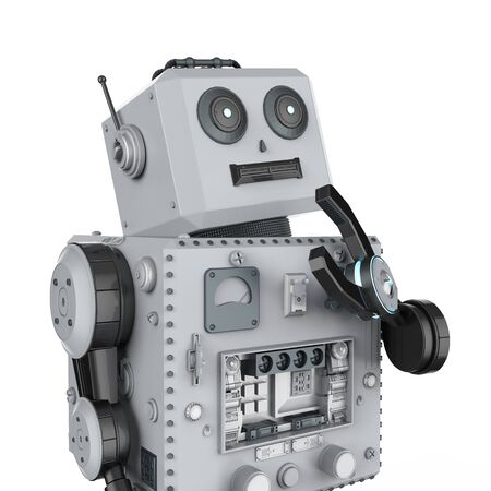 3d rendering robot tin toy thinking on white background Stock Photo - 124821843