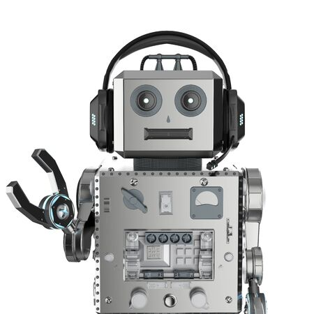 Chat bot concept with 3d rendering robot tin toy with headset Stock Photo