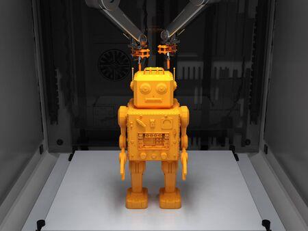 3d rendering robot tin toy model in 3d printer