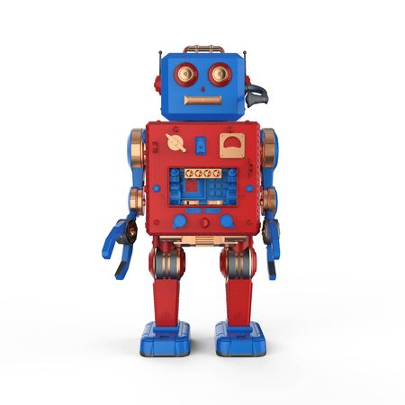 3d rendering robot tin toy with headset on white background