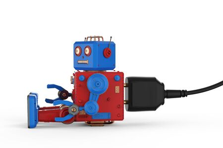3d rendering robot tin toy plug in on white background Stockfoto