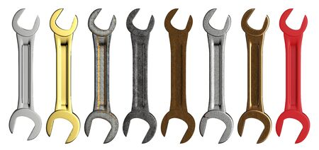 3d rendering set of wrench in a row isolated on white 版權商用圖片