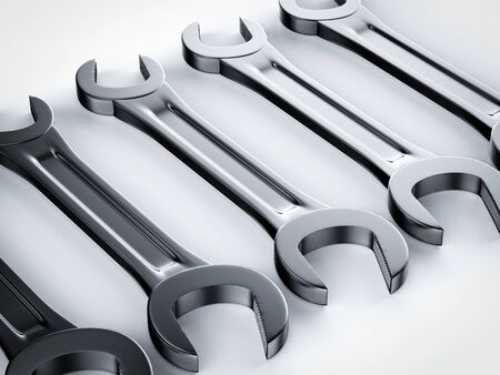 3d rendering set of wrench in a row on white background