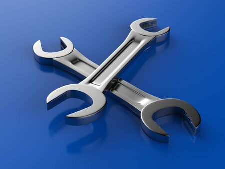 3d rendering wrenches on blue background