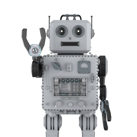 3d rendering robot tin toy hand up on white background Foto de archivo - 124821951