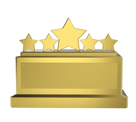 3d rendering golden five star trophy on white background Stock Photo