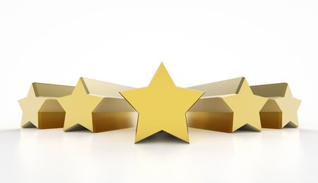 3d rendering golden five stars on white background Stock Photo