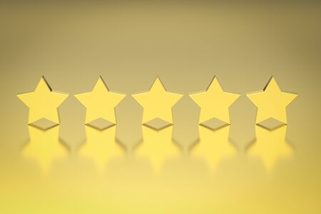 3d rendering golden five stars on gold background