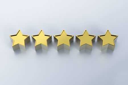 3d rendering golden five stars on grey background Stock Photo