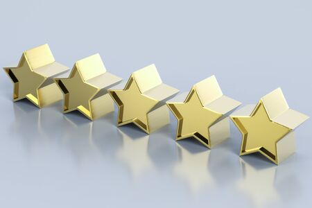 3d rendering golden five stars on grey background Stock Photo - 125313890