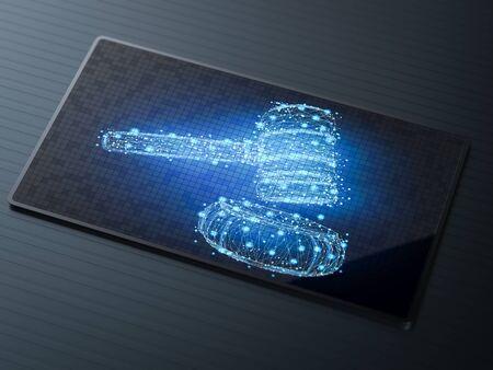 Concept de droit cybernétique avec loi de marteau d'affichage d'écran numérique de rendu 3d