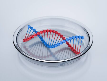 3d rendering red and blue dna helix structure Фото со стока