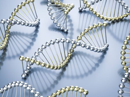 3d rendering gold and silver dna helix structure Stok Fotoğraf