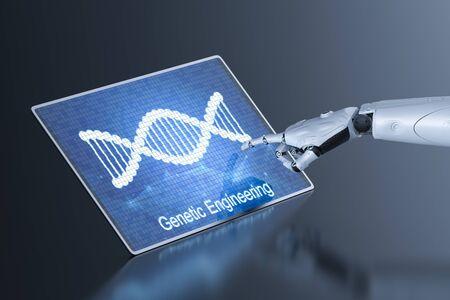 Genetic engineeering concept with 3d rendering digital screen display dna helix