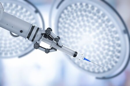 Medical technology concept with 3d rendering robotic hand holding syringe