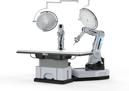Medical technology concept with 3d rendering robot surgery machine with surgery lights on white background Stock Photo