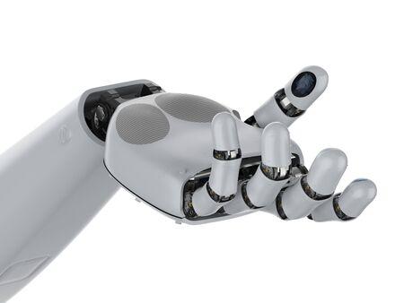 Main de cyborg de rendu 3D ou main robotique ouverte d'isolement sur le blanc