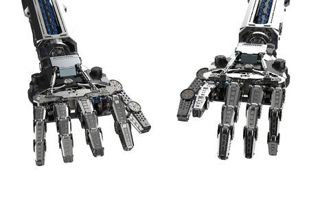 3d rendering cyborg hand in typing or playing piano gesture isolated on white Reklamní fotografie
