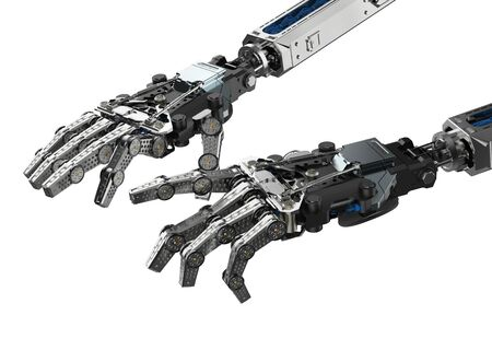 3d rendering cyborg hand in typing or playing piano gesture isolated on white