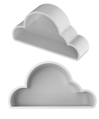 3d rendering cloud storage or white cloud with space isolated on white Фото со стока