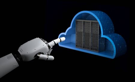 Cloud computing technology with 3d rendering server in cloud with robotic hand
