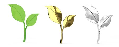 3d rendering green, golden and silver leaves isolated on white