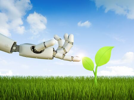 Ecology technology concept with 3d rendering robot arm with green leaves