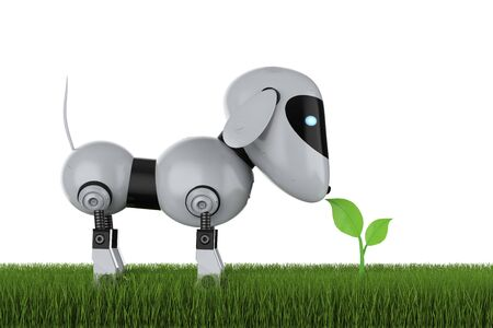 Ecology technology concept with 3d rendering dog robot with green leaves