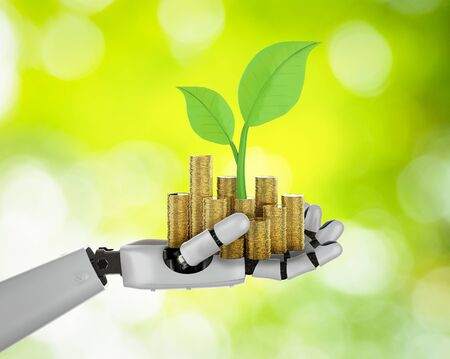 Financial technology concept with 3d rendering robotic hand holding gold coins Фото со стока