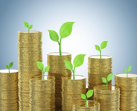 Financial growth concept with 3d rendering stack of golden coins with green leaves