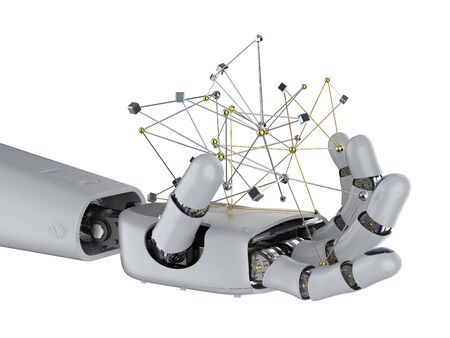 Technology connection concept with 3d rendering robot hand holding connection structure