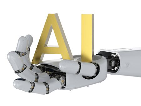 AI technology concept with 3d rendering humanoid robot with ai text Фото со стока