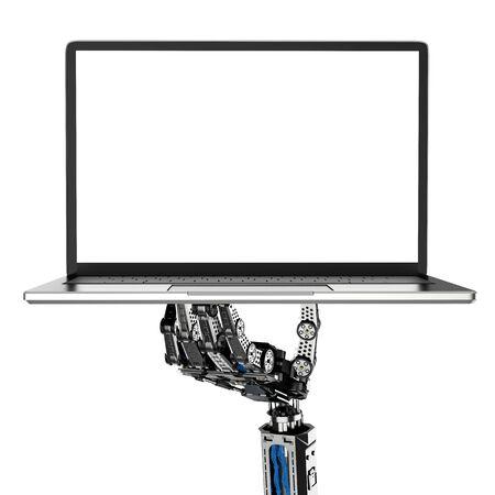 3d rendering robot hand holding blank screen computer notebook